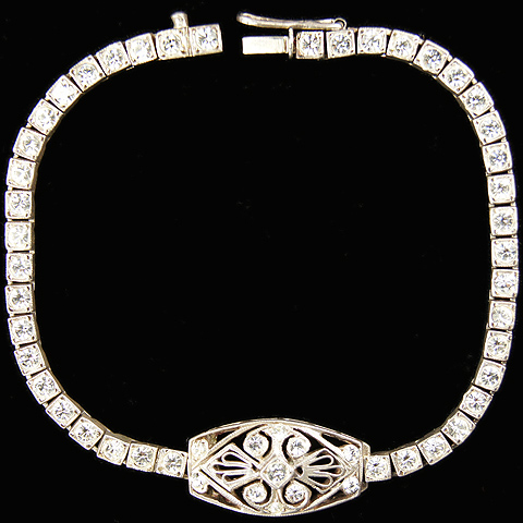 Deco Sterling Diamante and Openwork Motif Tennis Bracelet