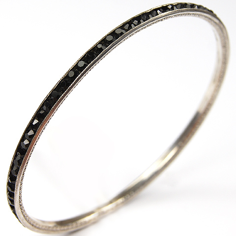 Deco Sterling Invisibly Set Onyx Circular Bangle Bracelet