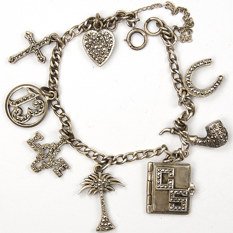 Deco Sterling and Marcasites 'I Love U' Lucky Charms Bracelet
