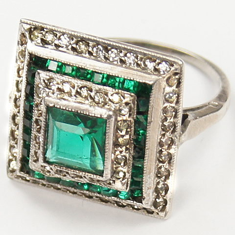 Deco Pave and Invisibly Set Emerald Pyramid Finger Ring