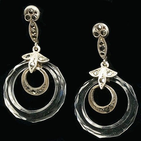 Deco Sterling Marcasites and Carved Crystal Hoops Pendant Pierced Earrings