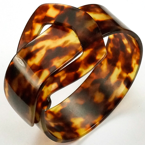 Deco Real Tortoiseshell Wide Belt Buckle Bracelet