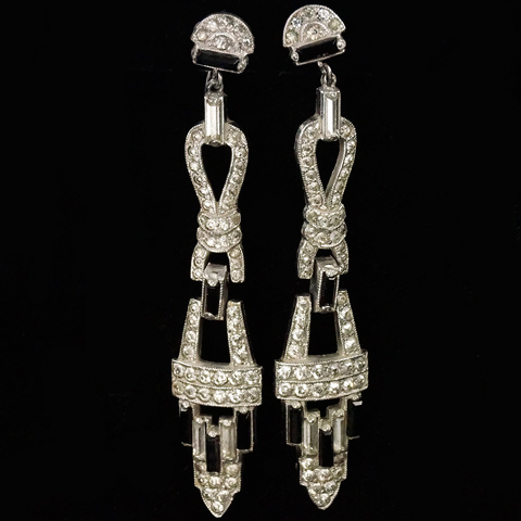 Deco Pave Baguettes and Onyx Triple Element Pendant Screwback Earrings