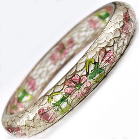 Art Nouveau Plique a Jour Pink and Green Flowers Bangle Bracelet