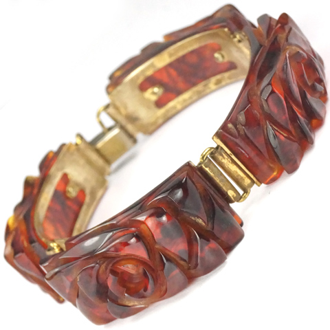 Gold and Rose Pattern Rootbeer Bakelite Bracelet