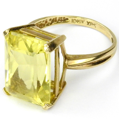 Deco Style 10Kt Gold and Real Citrine Finger Ring