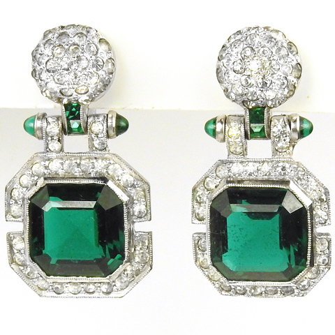 Deco Sterling Pave Pom Poms and Pendant Emeralds Screwback Earrings