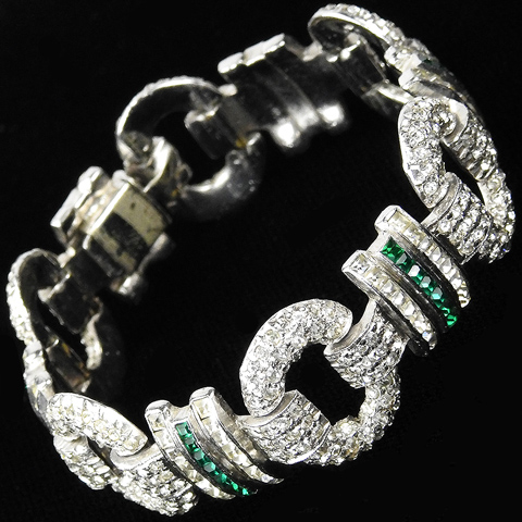 Deco Pave Hoops and Invisibly Set Emeralds Link Bracelet