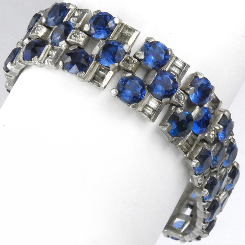 Deco Sapphire and Black Diamond Articulated Bracelet