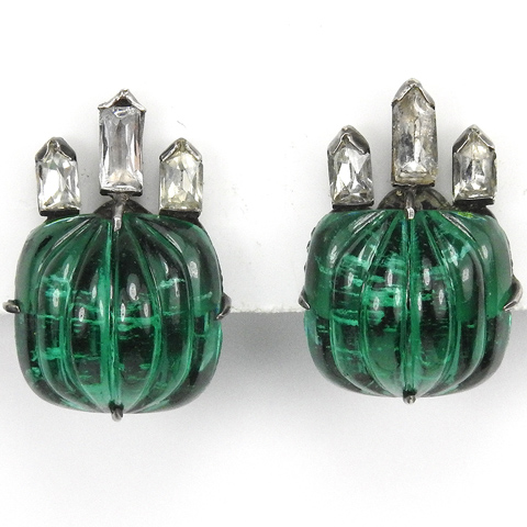 Deco Diamante Baguettes and Melon Cut Emerald Fruit Salads Button Clip Earrings