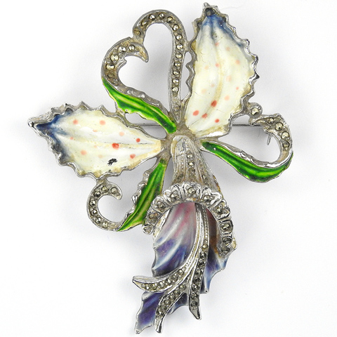 Enamel and Marcasites Orchid with Heart Shaped Tendrils Pin