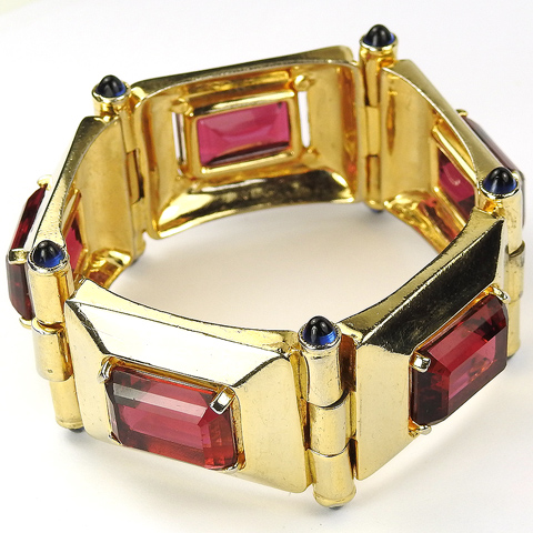 Deco Gold Pyramids Oblong Cut Rubies and Sapphire Cabochons Five Element Link Bracelet
