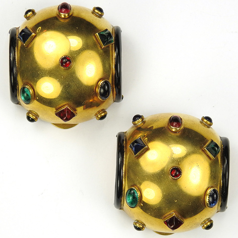 Deco (after Jean Fouquet) Gold Black Enamel and Multicolour Studded Gems Pair of Dress Clips