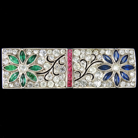 Deco 935 Sterling Emerald Sapphire and Invisibly Set Rubies Two Flower Gallery Set Scene Pin
