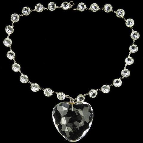 Sterling Giant Heart Shaped Faceted Rock Crystal Pendant Necklace