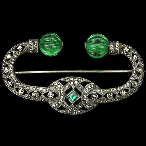 Deco Sterling Marcasites and Melon Cut Emeralds Moghul Style Bar Pin