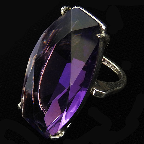 Sterling Giant Amethyst Cocktail Finger Ring