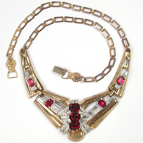 McClelland Barclay 'V Shaped' Ruby Necklace