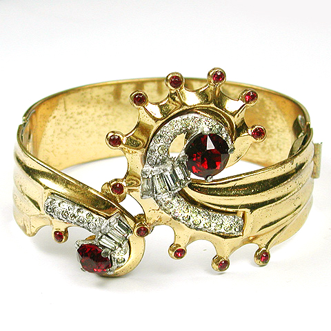 McClelland Barclay Gold Pave and Rubies Deco Seashell Bangle Bracelet