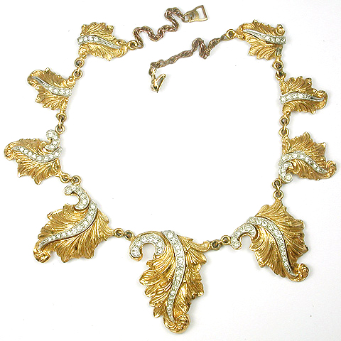 McClelland Barclay Gold Leaves and Pave Highlights Choker Necklace