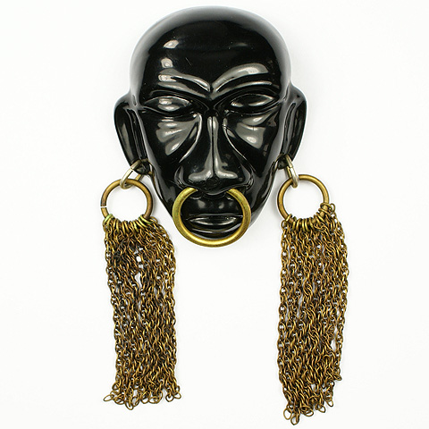 Joseff of Hollywood Ebony 'Headhunter' African Face Mask with Golden Earrings Pin