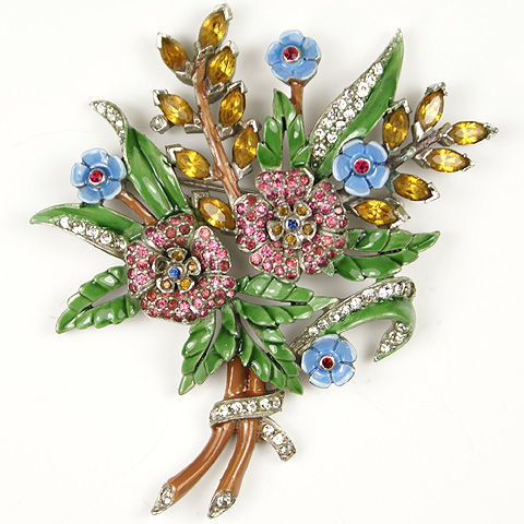DuJay Pave Citrines Rubies and Enamel Floral Spray Pin