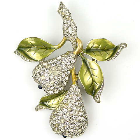 Dujay Pave Pears and Metallic Enamel Leaves Pin