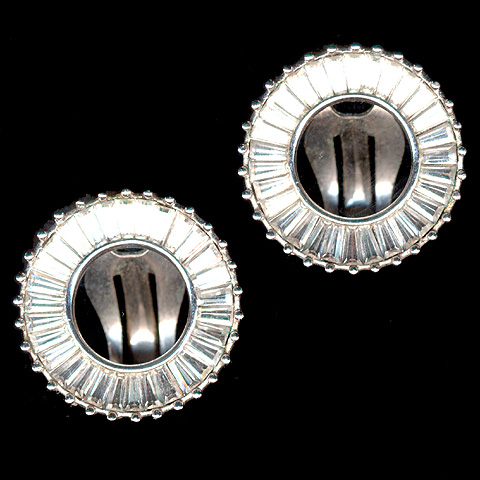 Pennino Diamante Baguettes Open Circle Clip Earrings