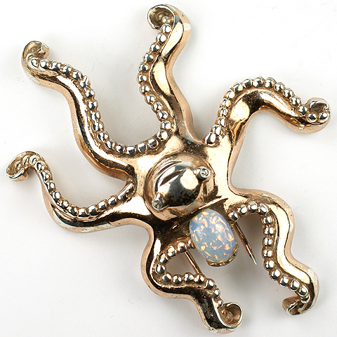 Nettie Rosenstein Sterling Gold and Opal Cabochon Octopus Pin Clip