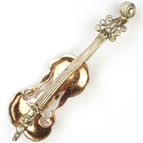 Nettie Rosenstein Sterling Rose and Yellow Gold Violin Pin