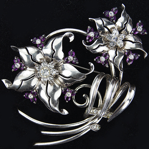 Pennino Sterling Silver Starflowers and Amethyst Trilliums Floral Spray Pin