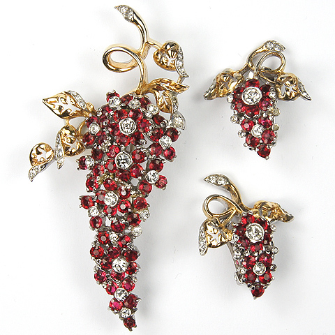 Reja Gold and Ruby Flowers Climbing Wisteria Pin and Clip Earrings Set