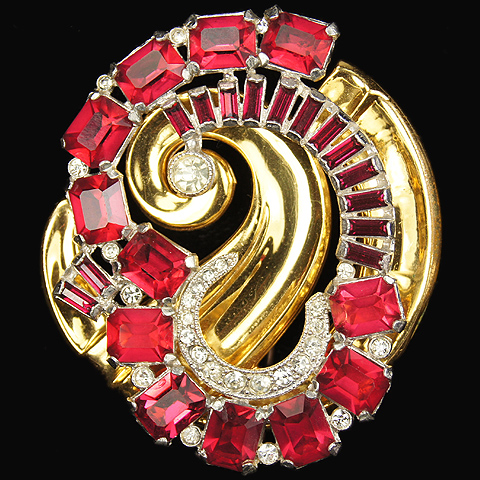 McClelland Barclay Gold Pave and Ruby 'Moderne' Variant Pin