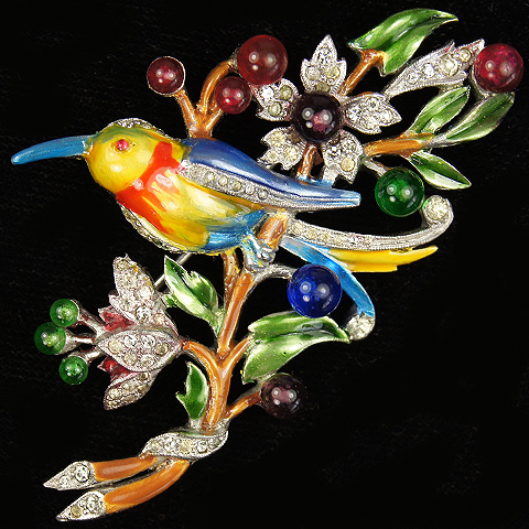 DuJay (unsigned) Metallic Enamel Bird on Branch with Berries Pin