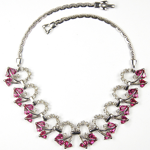 Pennino Pave Loops and Fuchsia Hearts Choker Necklace