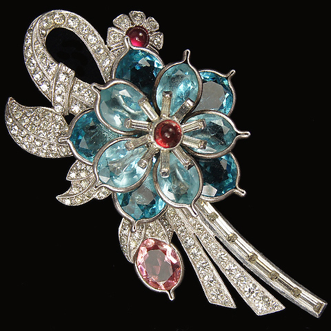 Pennino Pave and Baguettes and Aquamarine and Pink Topaz Pointed Petals Flowers Floral Spray Pin