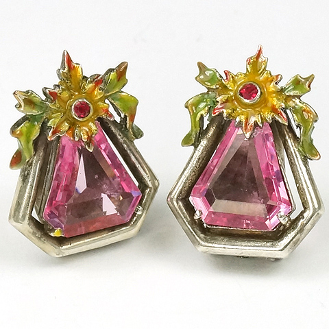 Dujay Sterling (unsigned) Pink Topaz Hexagons and Enamel Flowers Clip Earrings