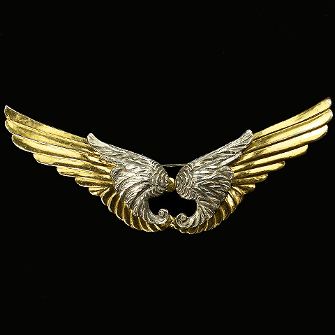 McClelland Barclay WW2 US Patriotic Gold and Silver Wings Pin