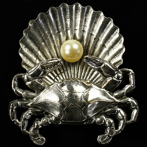 Joseff of Hollywood Silver Crab with Pearl in Shell Pin