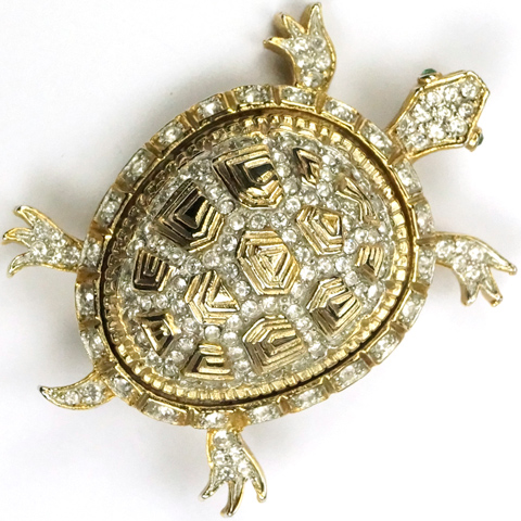 After Nettie Rosenstein (unsigned) Gold and Pave Turtle Pin