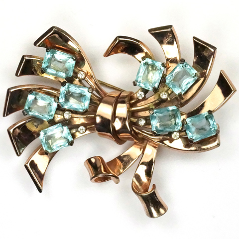 Pennino Sterling Gold and Aquamarine Bow Pin