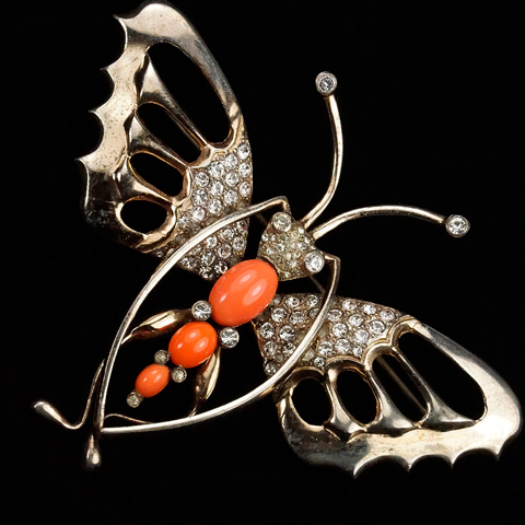 Nettie Rosenstein Sterling Gold Pave and Coral Giant Butterfly Pin