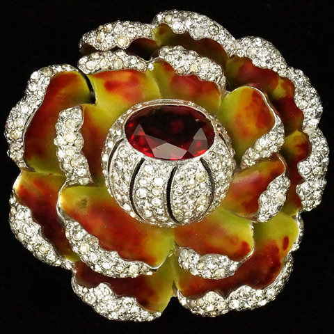 Dujay Pave Enamel and Ruby Budding Flower Pin
