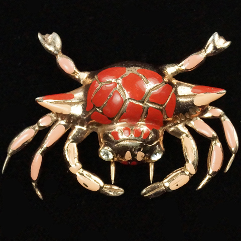 Nettie Rosenstein Sterling Gold and Enamel Crab Pin Clip