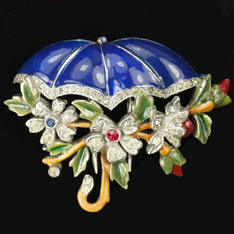 Dujay Pave and Enamel Flowers on a Branch beneath an Umbrella Pin Clip