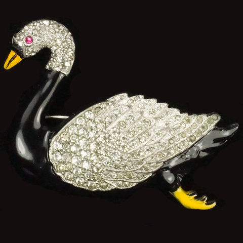 Dujay Pave and Enamel Black Swan Pin