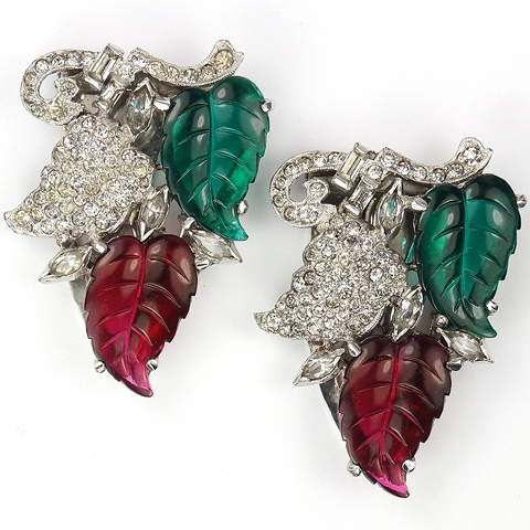 DuJay (unsigned) Pave Fruit and Red and Green Fruit Salads Pair of Dress Clips