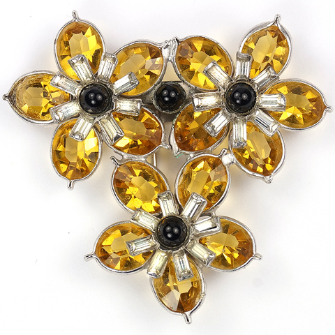 Pennino Citrine Pointed Petals Flowers and Baguettes Triple Floral Spray Pin Clip