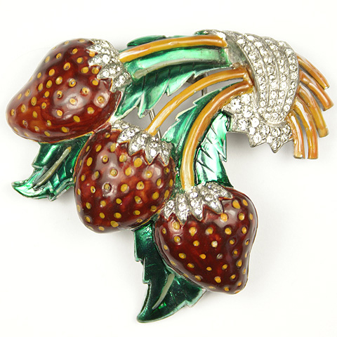 Dujay Metallic Enamel Strawberries Pin Clip