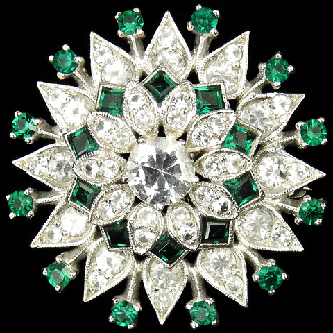 DuJay Sterling Emerald and Diamond Starburst Pin